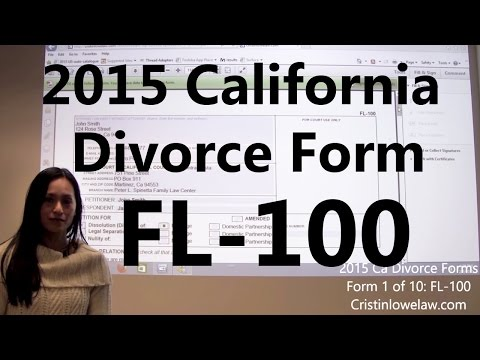 Filing California Divorce Forms: Form 1 of 10 the FL-100