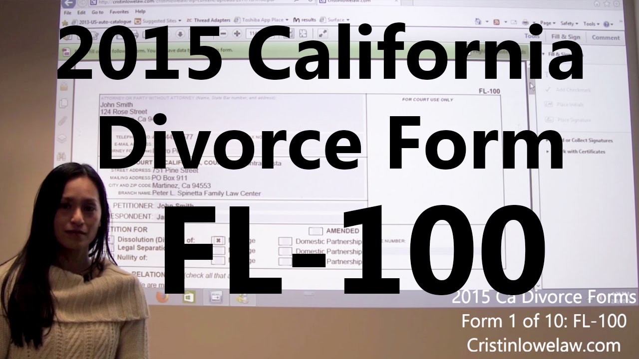 Filing California Divorce Forms: Form 1 of 10 the FL-100 - YouTube