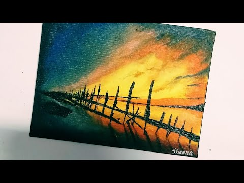 Mission  365 , Day 12,  How To Paint Sunset , Easy Acrylic Painting, Sheena's Gallery