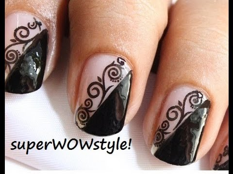 The Lady In Black Water Decals Lace Nail Art Designs Youtube