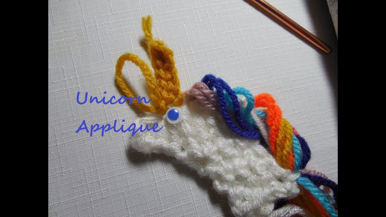 How to crochet a unicorn applique youtube