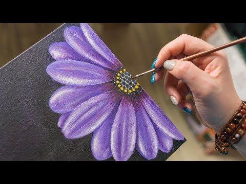 The Purple Flower - Acrylic painting / Homemade Illustration (4k)