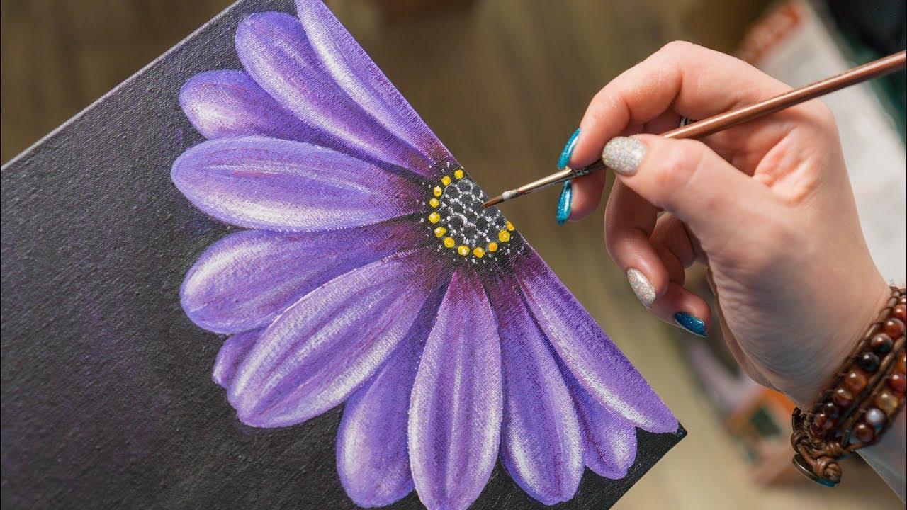 The Purple Flower Acrylic Painting Homemade Illustration 4k