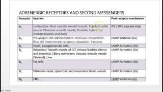 adrenergic receptor and drugs classification usmle