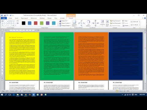 Add Different Colour for Each Page - Microsoft Word