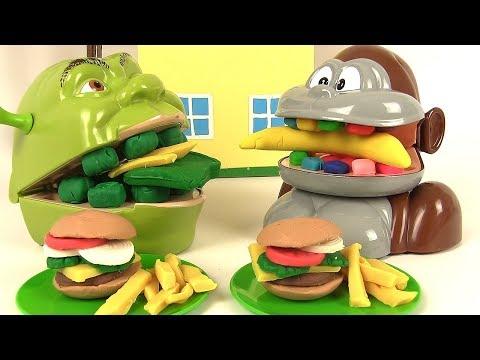 Shrek et le Singe Mangent Menu Hamburger Frites Play Doh
