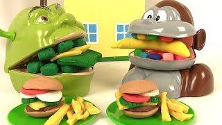 Shrek et le Singe Mangent Menu Hamburger Frites Play Doh thumbnail