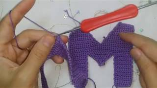 كروشية حرف crochet letter M