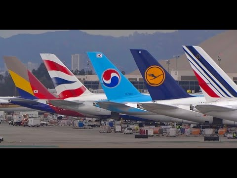 (HD) LAX Plane Spotting, In-N-Out, Imperial Hill, TBIT Terminal, Los Angeles Int'l Airport