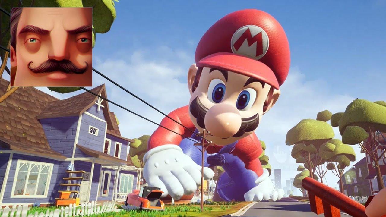 Hello Neighbor - My New Neighbor Big Mario Act 2 Trampoline Gameplay Walkthrough