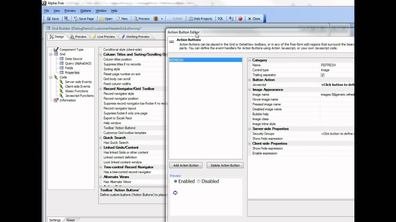 V11 Extended Dialog Demo - Create Tables from the Dialog Definition Part 3
