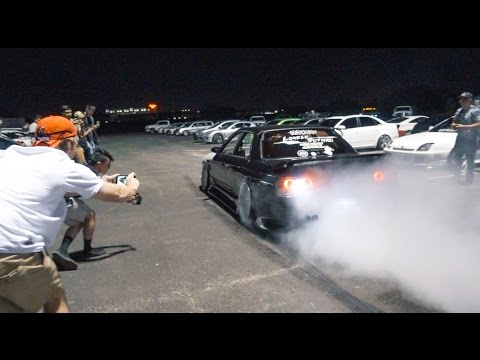 MOST INSANE CAR MEET EVER!! BURNOUTS, COPS, DONUTS, FIREWORKS!