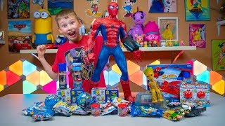 Spiderman Silly String Surprise Toys Superhero Blind Bags & Eggs Avengers Boys Toy Kinder Playtime