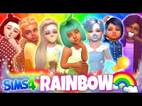 🌈RAINBOW BABY GIRLS!!!😍 - Sims 4 CAS Challenge!