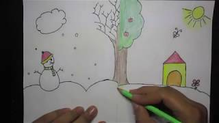 How to draw winter and summer season for kids    Sunrise Kids Channel
