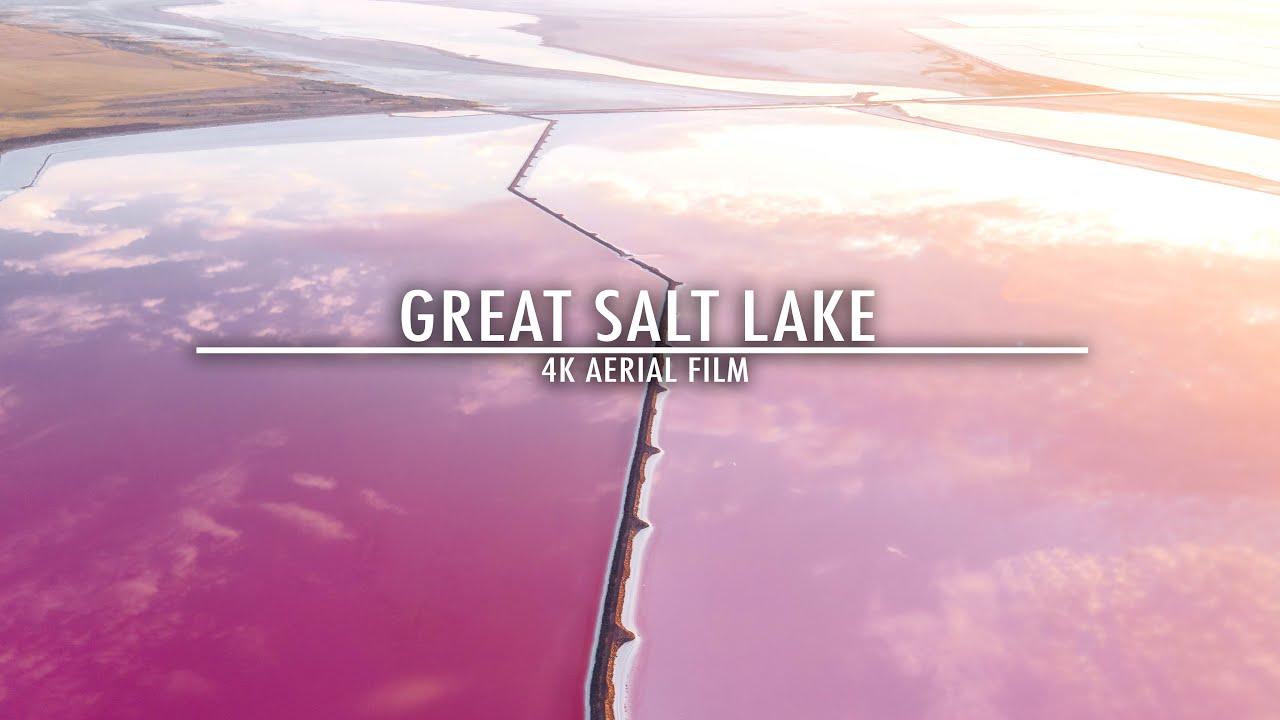 Flying Over The Pink Salt Flats of Salt Lake City | 4K Aerial Film