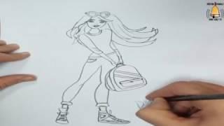 Barbie Çizimi - Barbie ve okul çantası - How to Draw Barbie