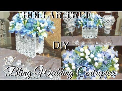 DIY DOLLAR TREE WEDDING OR BRIDAL SHOWER BLING CENTERPIECE PETALISBLESS 🌹