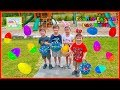Family Fun Egg Hunt for Surprises & Money on the Outdoor Playground for Kids Outdoor Fun with Hailey