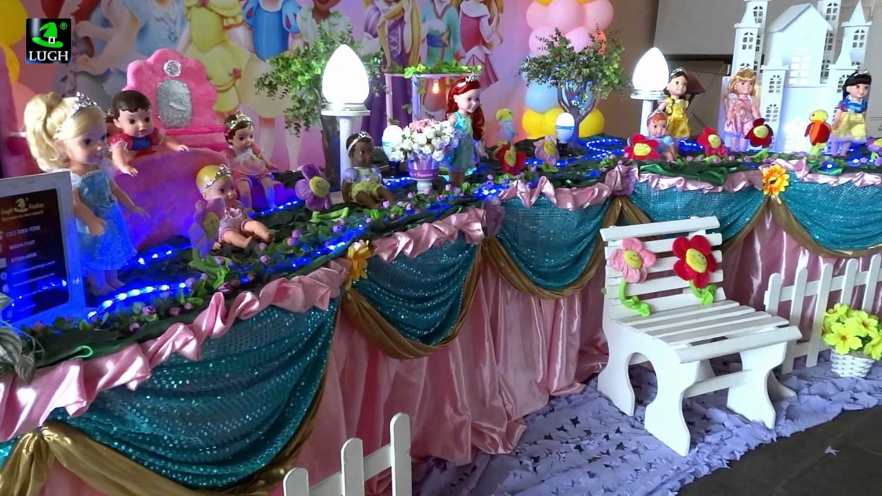 Decoraç u00e3o de festa infantil Princesas Baby Disney tradicional luxo YouTube # Decoração De Festa Das Princesas Da Disney