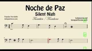 Noche de Paz Partitura de Trombón Villancico de Navidad