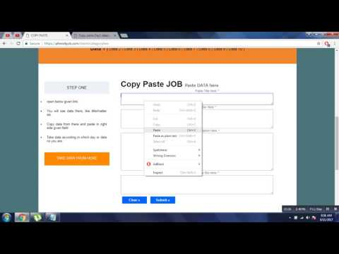 Copy & Paste Job, Home Base Work, Genuine, No Registration F