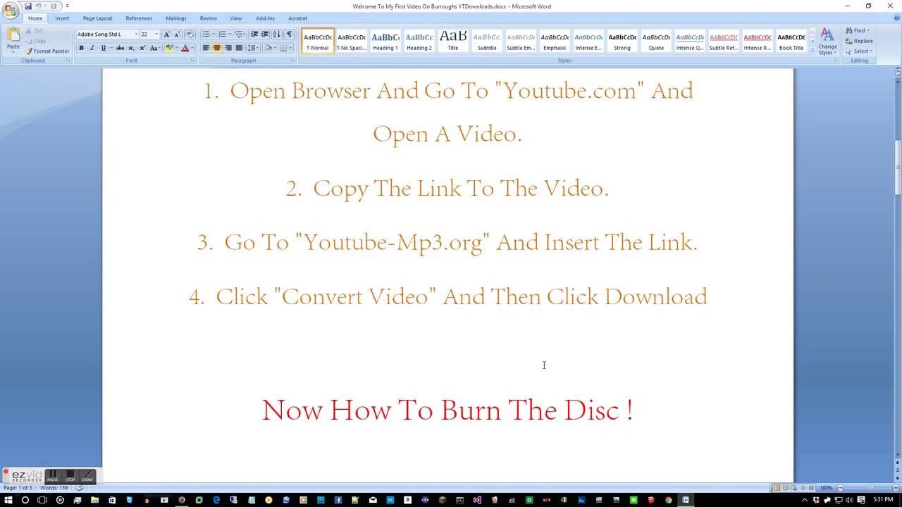 How To Download Youtube Videos On To A Disc !!