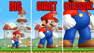 New Super Mario Bros Wii - Mini VS Small VS Big VS Giant VS Colossal Mario