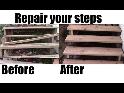 How To Repair Your Porch Steps Diy Home Depot Materials Youtube | Repairing Outdoor Wooden Steps | Stair Stringer | Concrete Slab | Deck Stairs | Concrete Porch | Deck