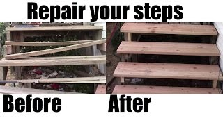 How To Repair Your Porch Steps Diy Home Depot Materials Youtube | Repairing Outdoor Wooden Steps | Staircase | Patio | Concrete Slab | Front Porch | Stringer