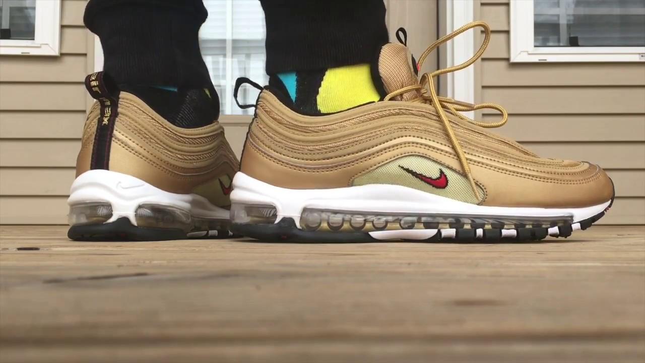 Nike Air Max 97 Og Metallic Gold On Foot Look Youtube