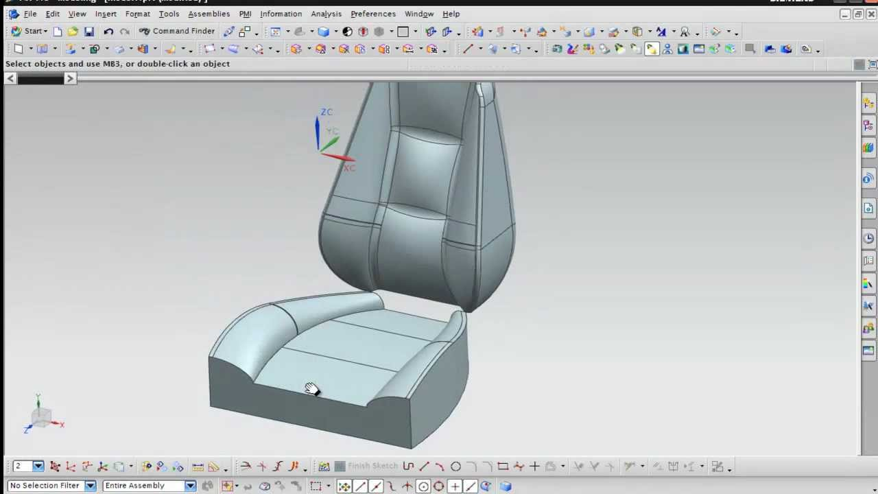Nx Modeling Concept Design Car Seat Youtube