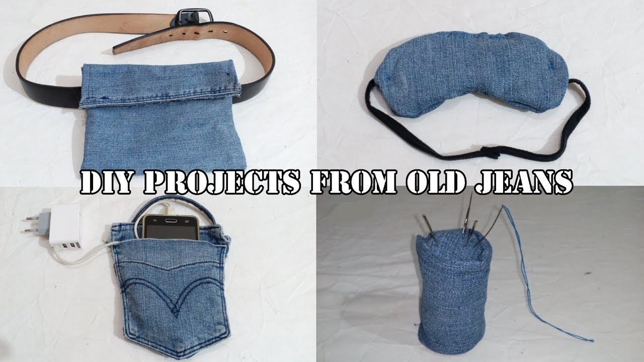DIY sewing projects from old denim jeans - - YouTube