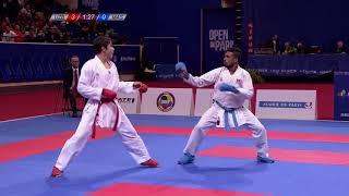 Grand Winner Sadriddin Saymatov in action ahead of Karate 1-Premier League Rotterdam