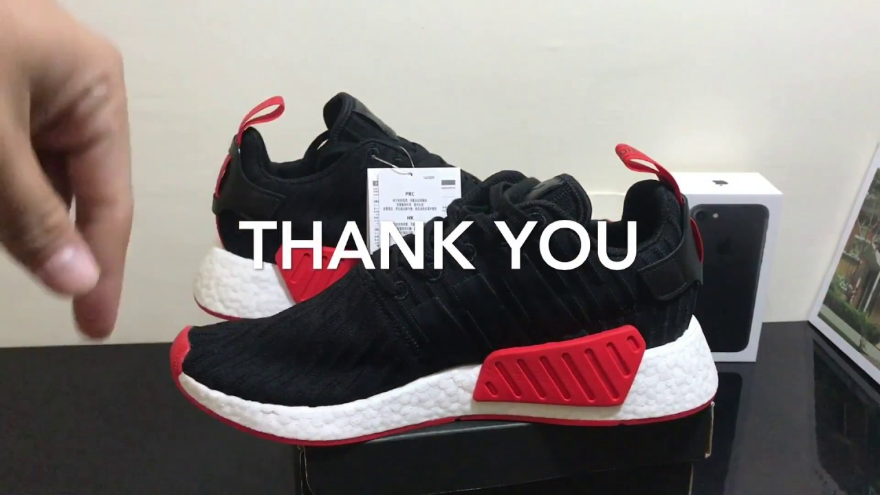 Adidas NMD R2 PK Black Red Unboxing Video at Exclucity