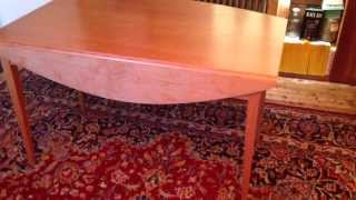 Handmade Drop Leaf Harvest Table In Cherry