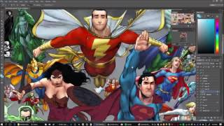 Coloring Dc Comics Characters (Speed painting) Photoshop colorist