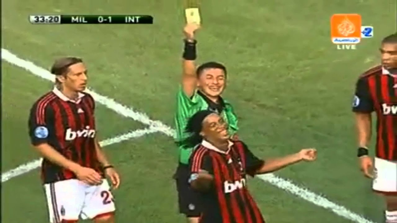 ronaldinho funny red card youtube