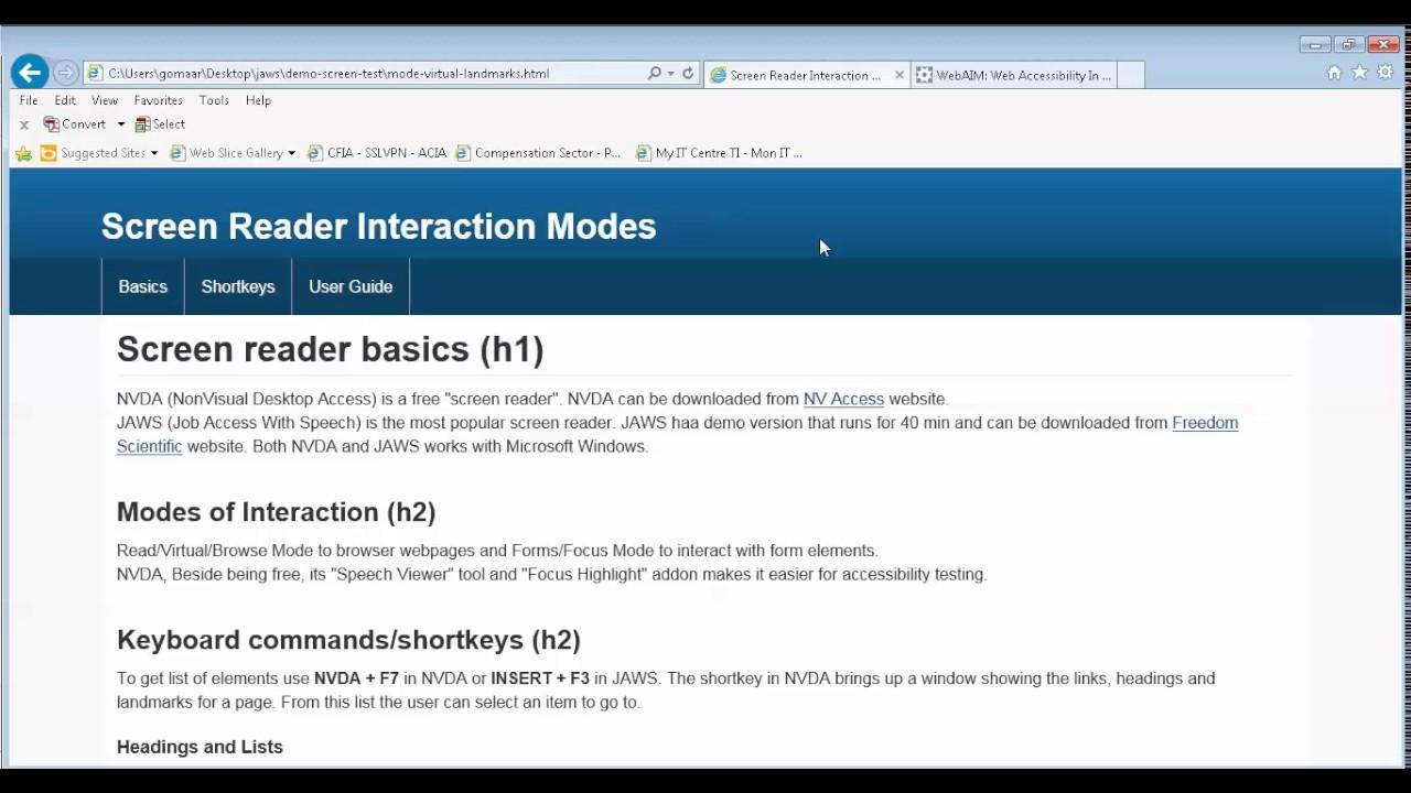 Virtual HTML features List & Regions Keystroke in JAWS virtual mode