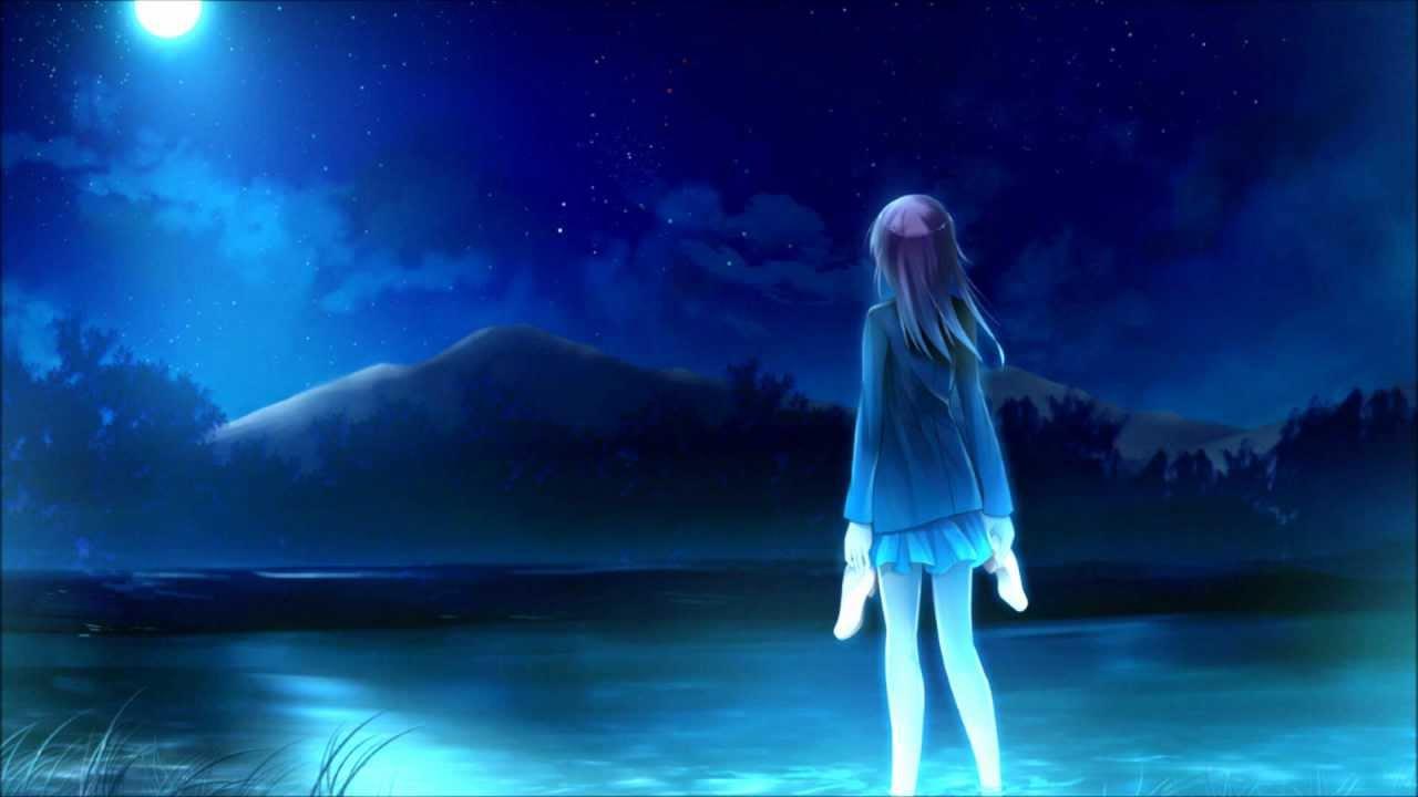 Anime Girl Walking On Moon Wallpaper Nightcore Moonlight Shadow Youtube
