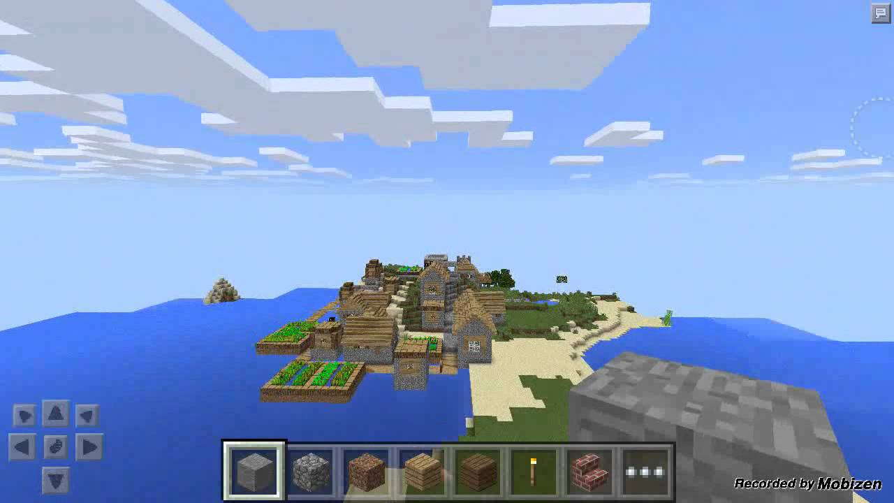 Minecraft PE Village Seed in the Ocean - YouTube