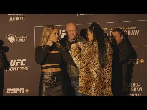 UFC Brooklyn: Paige VanZant vs. Rachael Ostovich Media Day Staredown - MMA Fighting
