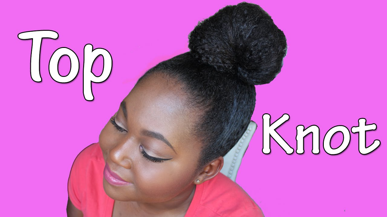 NATURAL HAIR Croissant Top Knot YouTube - Croissant hairstyle bun