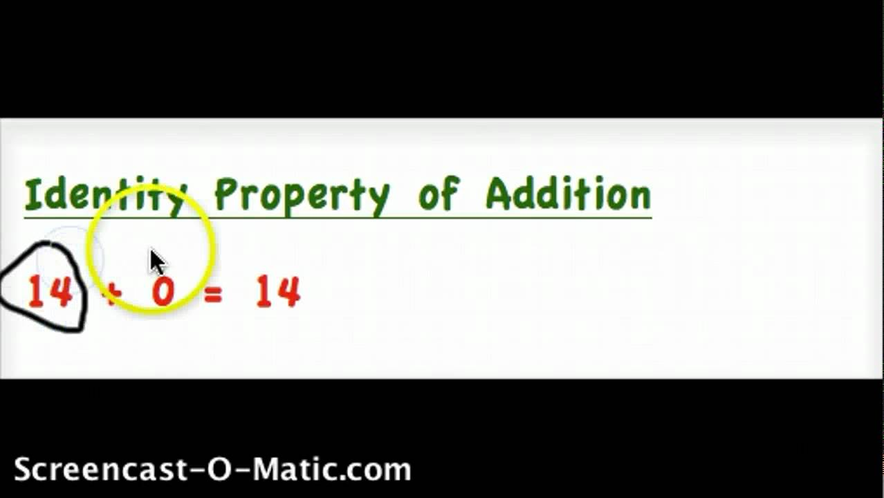 Identity Property of Addition - YouTube