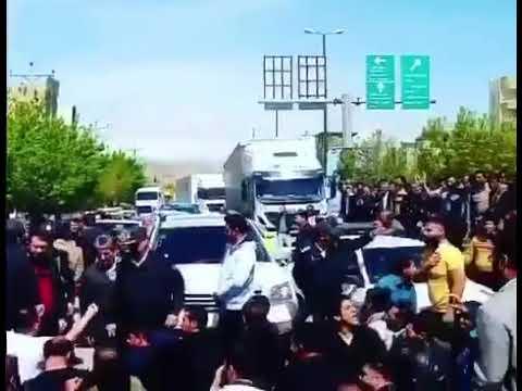 Iran, 20 avril 2018, manifestations de la population de Makou contre les taxes frontaliers