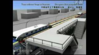 The train that never stops at a station -- people can embark and disembark- Chinese Concept thumbnail
