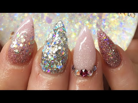 Acrylic Nails   Baby Pink   Silver Holo
