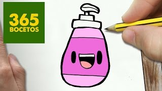 COMO DIBUJAR GEL DE DUCHA KAWAII PASO A PASO - Dibujos kawaii faciles - How to draw a SHOWER GEL