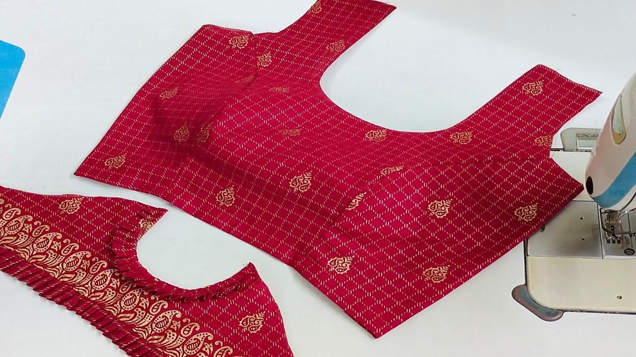 Princes cut Cold Shoulder Blouse Design Cutting Stitching | Frill Sleeves Blouse Back Neck Design