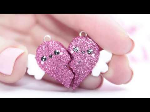 ♡ DIY GLITTER BFF Heart Charms!!   In Polymer Clay ♡   Kawaii Friday